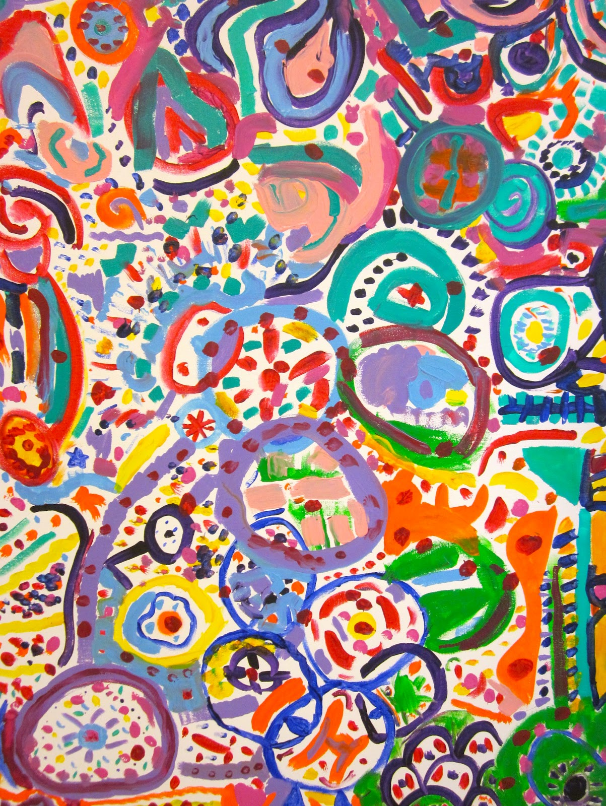 Collaborative Classroom Art Project ~ Third and fourth grade collaborative circle paintings