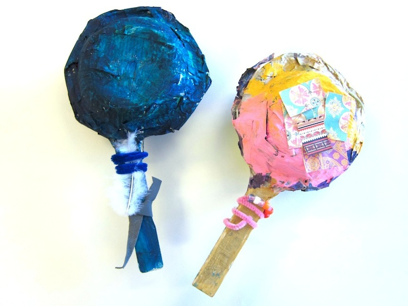 paper mache rattles for kindergarten with native american