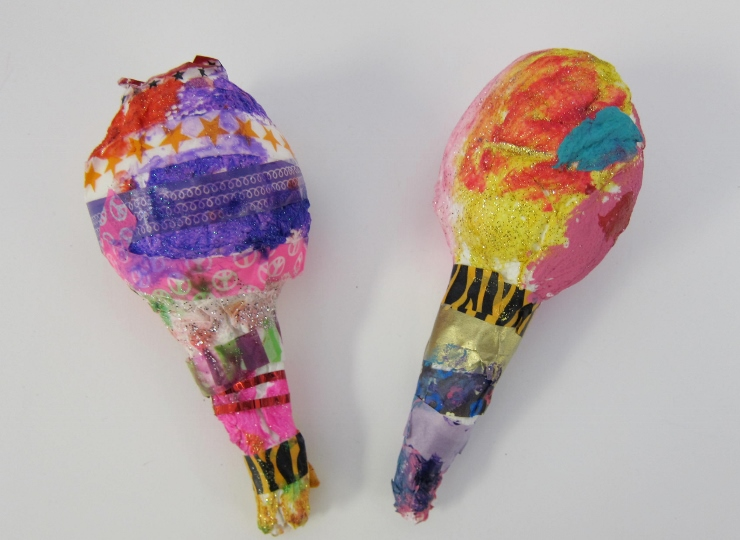 Homemade christmas decorations for kids to make - Paper Mache Maracas With Kindergarteners