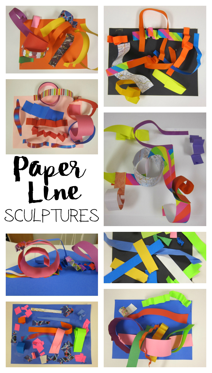 Line Art For Kindergarten : Paper line sculptures with kindergarten art is basic