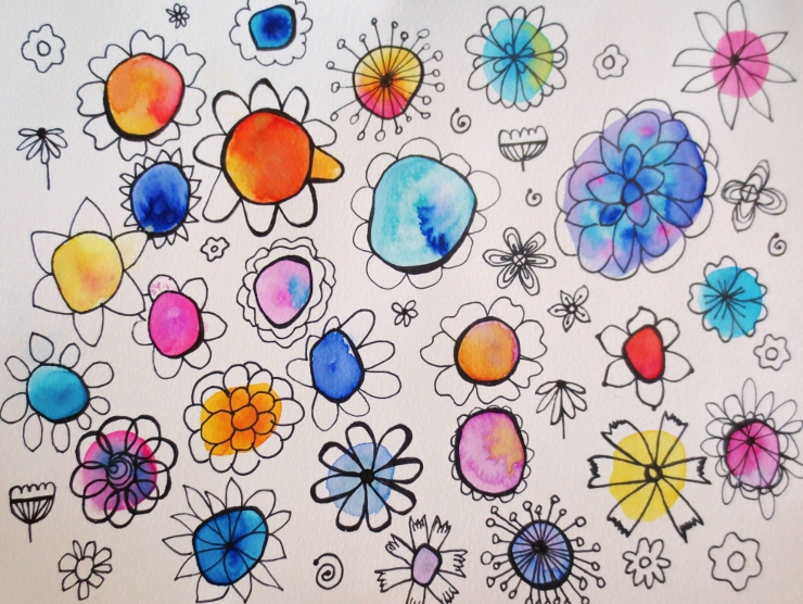 Watercolor Flower Doodles with Black Pen