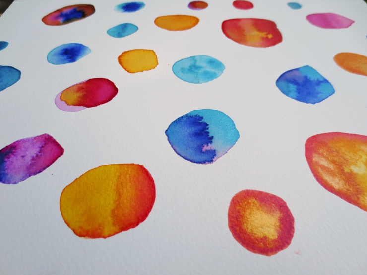 watercolor circles close up