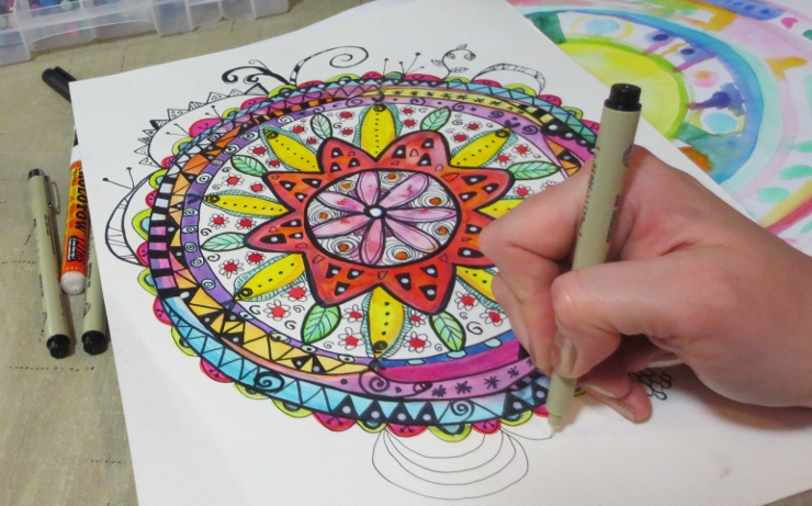 Watercolor Mandala with Doodles