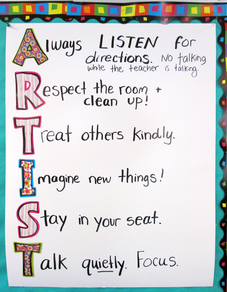 Rules Art Classroom on Art Project Fifth Grade Worksheets