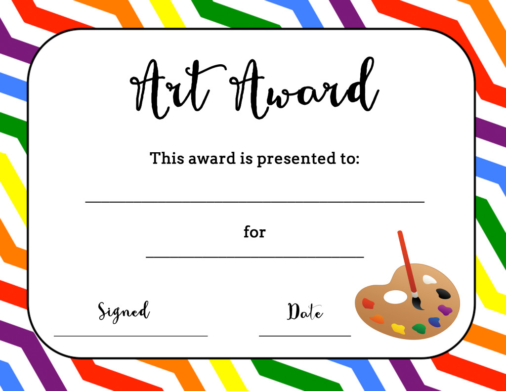 Art Award Certificate (Free Printable) – Art is Basic  An Within Free Printable Student Of The Month Certificate Templates