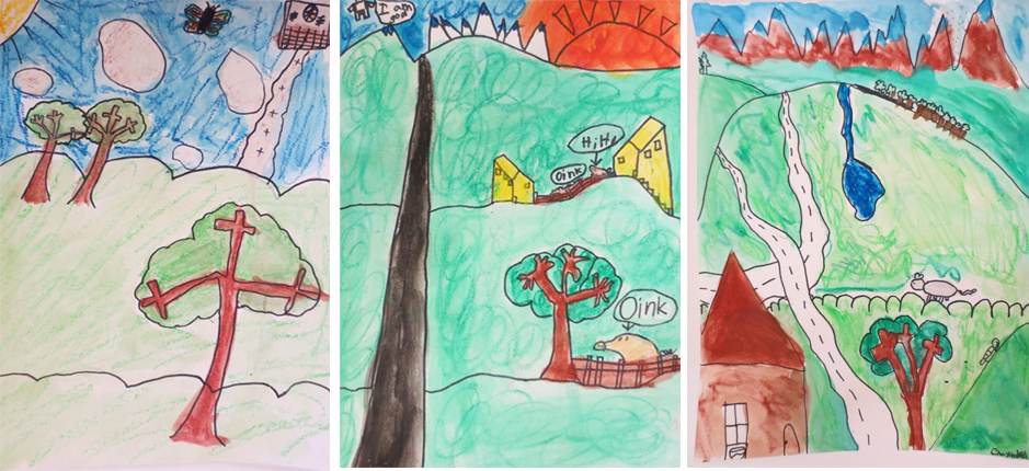 Showing Depth In Landscapes 2nd Grade Drawing Project