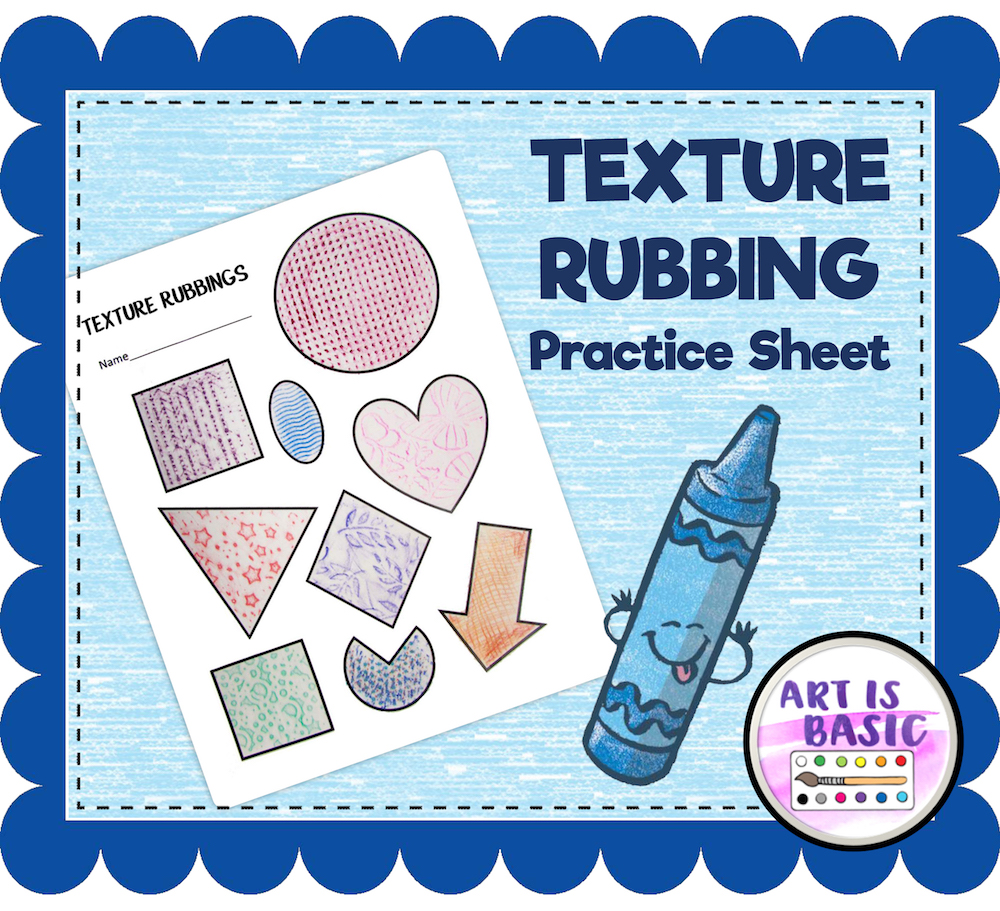 New! Texture Rubbing Practice Sheet – Art is Basic | An Elementary ...